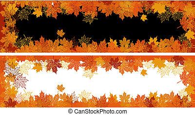 tekst, leaf., herfst, frame:, plek, here., jouw, esdoorn