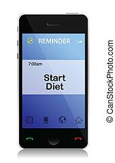 telefoon, herinnering, dieet