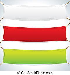 textiel, banners., vector, mal, illustratie