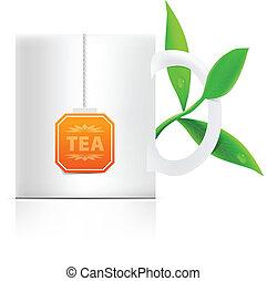 theeblaadjes, etiket, mok, vector, teabag
