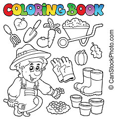 thema, kleurend boek, tuin