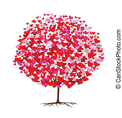 thema, liefde, bomen, valentine, hartjes
