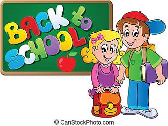 thematisch, school, beeld, 4, back