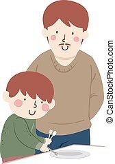 therapie, illustratie, beroeps, jongen, blind, geitje