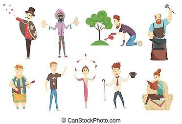things., creatief, volwassene, karakters, spotprent, artistiek, mensen, hobbies, set, favoriet, hun