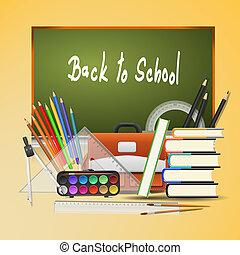 tien, school, -, back, illustratie, eps, achtergrond., vector