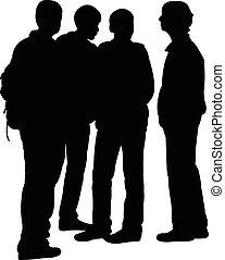 tieners, vector, silhouette