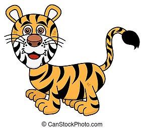 tiger, het glimlachen, jonge