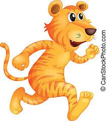 tiger, rennende , jonge