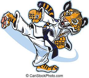 tiger, schoppen, welp, krijgshaftige artiest