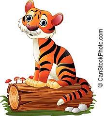 tiger, spotprent, boompje, logboek, zittende