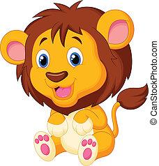 tiger, spotprent, jonge, schattig
