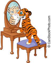 tijger cub, het kijken, spiegel