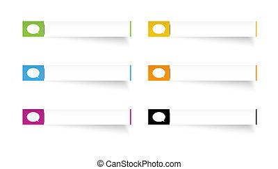 toespraak, etiketten, bel, rechthoek, pictogram