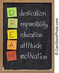 toewijding, houding, opleiding, verantwoordelijkheidsgevoel, motivatie