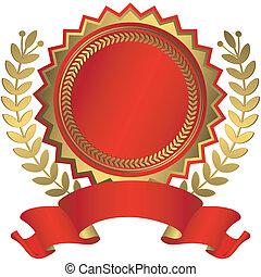toewijzen, lint, (vector), gouden, rood