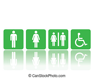 toilet, vrouw, tekens & borden, man