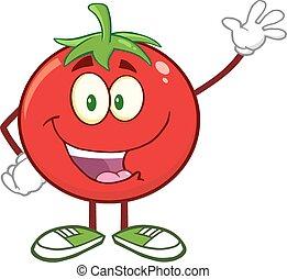 tomaat, zwaaiende , karakter, vrolijke