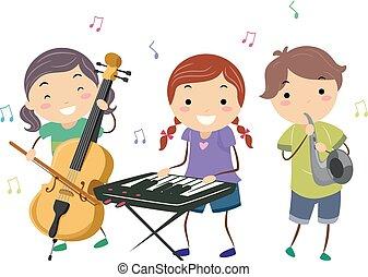toneelstuk, geitjes, stickman, instrumenten, jazz muziek