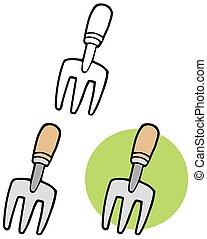 tool., set, tuinieren, verzameling