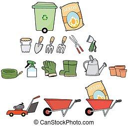 tools., set, tuinman, verzameling