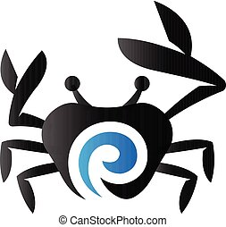 toon, duo, -, krab, pictogram