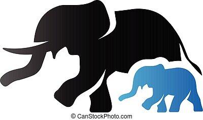 toon, olifanten, -, duo, pictogram