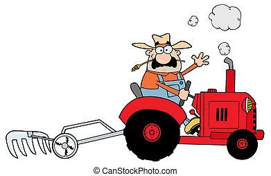 tractor, farmer, geleider, kaukasisch