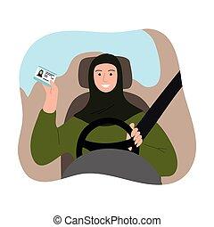 traditionele , hijab, veiligheid, license., plat, geleider, het tonen, vector, riem, spotprent, arabier, auto, style., vrouw, groene, moslim, illustratie