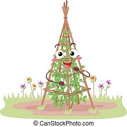 traliewerk, tuin, illustratie, mascotte