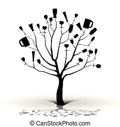 tree-silhouette, dronken