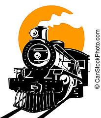 trein, stoom