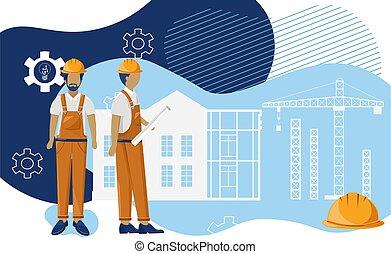 trekken, zij, visualising, bouwschets, groep, architecten