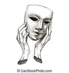 trickster, faces., drama, drawing., hypocriet, theater, ouderwetse , portrait., gemaakt, pretendent, velen, acteur, witte , hand, tattoo., black , template., hands., masker
