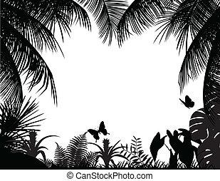 tropische , silhouette, bos