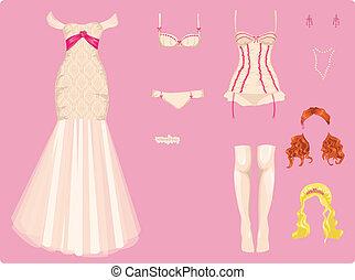 trouwfeest, vrouwlijk, kleren