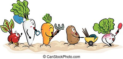 tuin, gewas, wortel, illustratie, gereedschap, mascotte