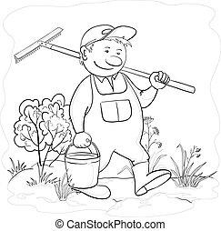 tuin, hark, omtrek, tuinman
