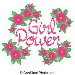 tuin, meisje mogendheid, lettering, bloemen