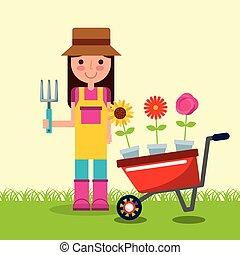 tuin, pot, kruiwagen, meisje, bloemen, tuinman