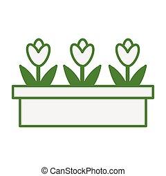 tuin, schattig, bloemen, pot, keramisch