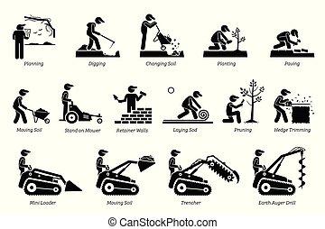 tuinbouw, landscaping, icons.