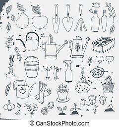 tuinbouw, tuinieren, vector, set