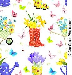 tuinieren, equ, seamless, textuur, boeketten, verse bloemen