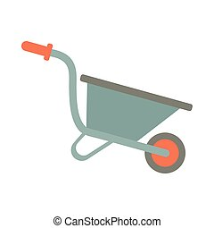 tuinieren hulpmiddel, kruiwagen, stijl, plat