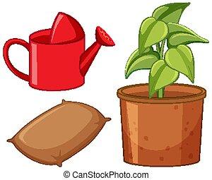 tuinieren, pot, gereedschap, plant