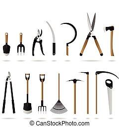 tuinieren, set, gereedschap