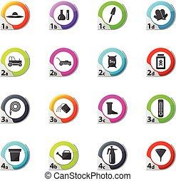 tuinieren, set, gereedschap, verzameling, iconen