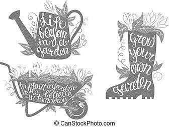 tuinieren, set., quotes., typografie, verzameling, aanplakbiljeten, inspirational, affiches