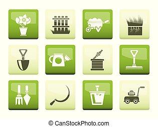 tuinieren, tuin, iconen, kleur, op, achtergrond, gereedschap